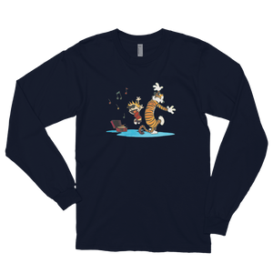 Calvin and Hobbes Dancing with Record Player Long Sleeve Shirt - Navy / Small by Art-O-Rama