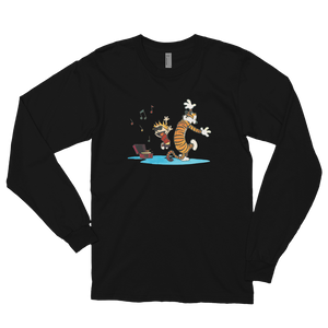 Calvin and Hobbes Dancing with Record Player Long Sleeve Shirt - Art-O-Rama