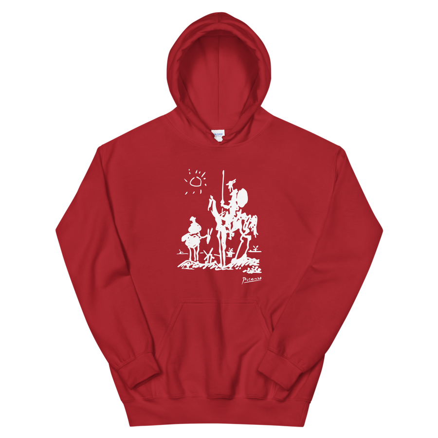 Pablo Picasso Don Quixote of La Mancha 1955 Artwork Unisex Hoodie - Red / S by Art-O-Rama