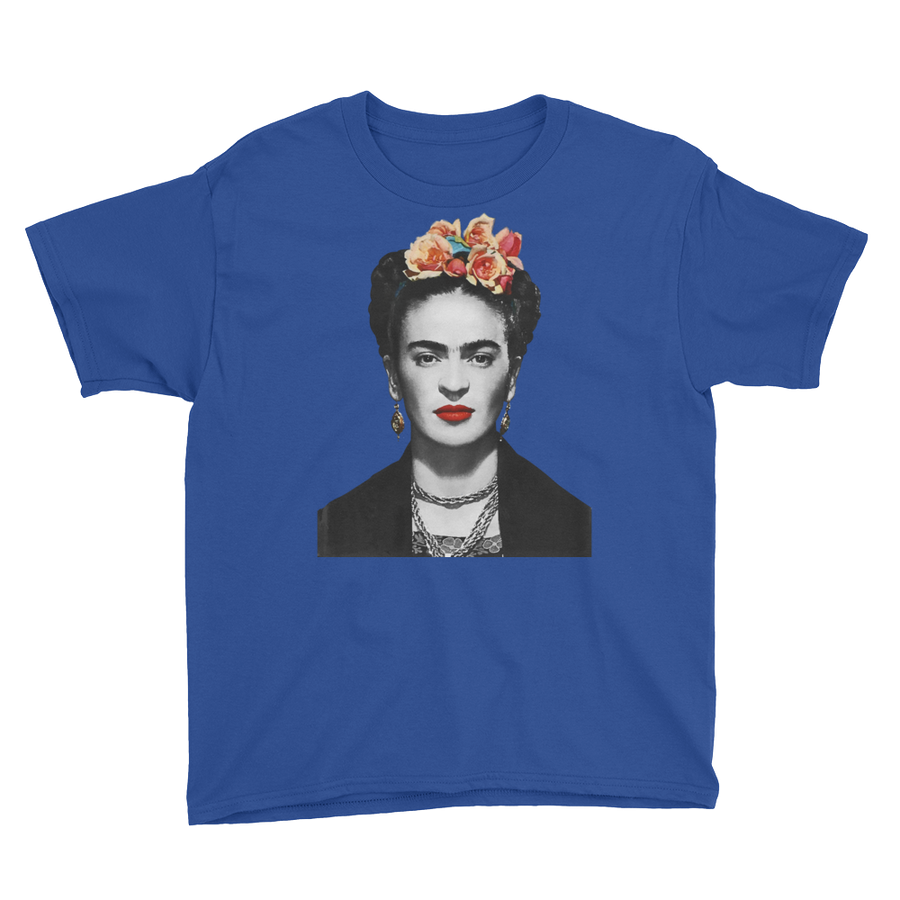 Frida Kahlo With Flowers Poster Artwork  Youth T-Shirt - Royal Blue / XS by Art-O-Rama