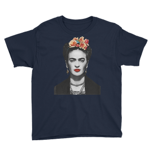 Frida Kahlo With Flowers Poster Artwork  Youth T-Shirt - Navy / XS by Art-O-Rama