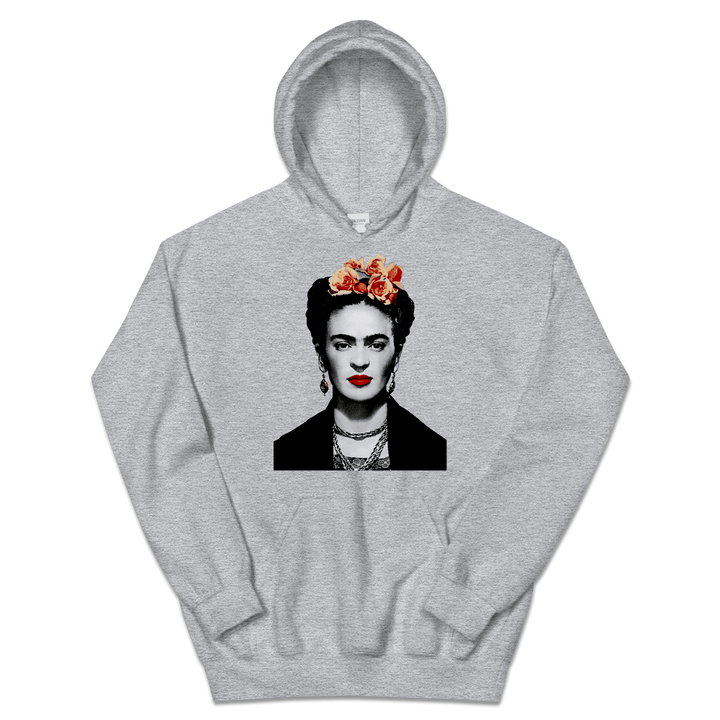 Frida Kahlo With Flowers Poster Artwork Unisex Hoodie - Sport Grey / S by Art-O-Rama