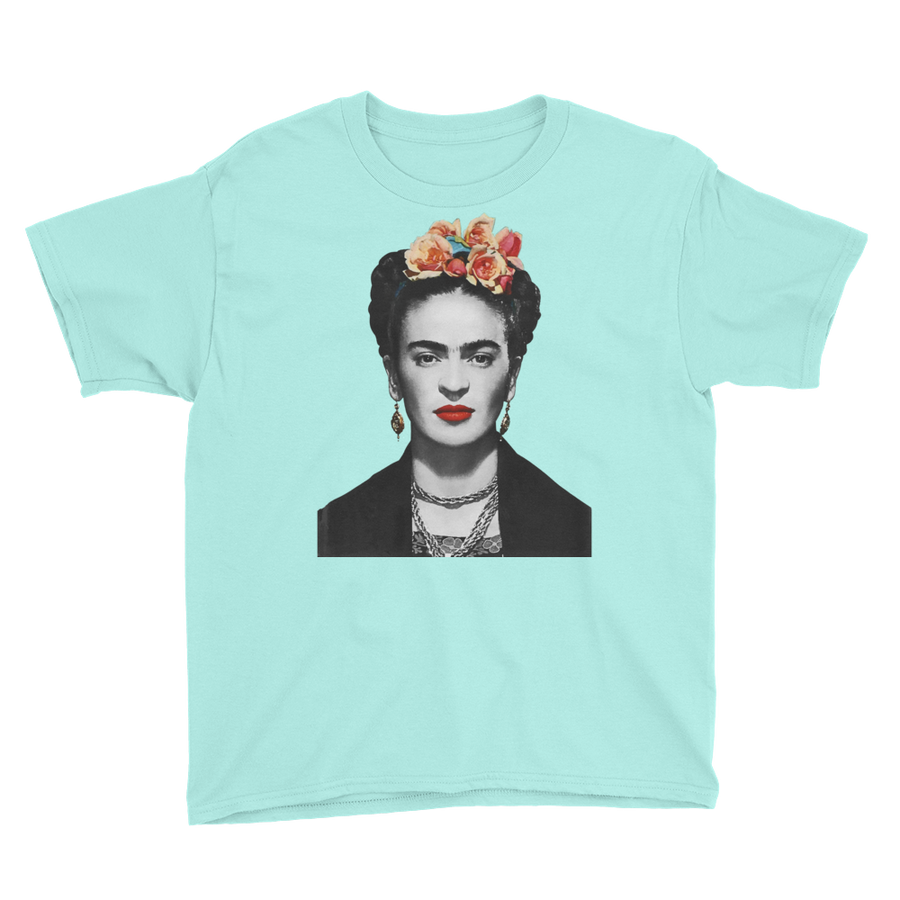 Frida Kahlo With Flowers Poster Artwork  Youth T-Shirt - Teal Ice / XS by Art-O-Rama