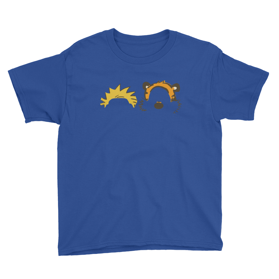 Calvin and Hobbes Faces Contour Youth T-Shirt - Royal Blue / XS by Art-O-Rama