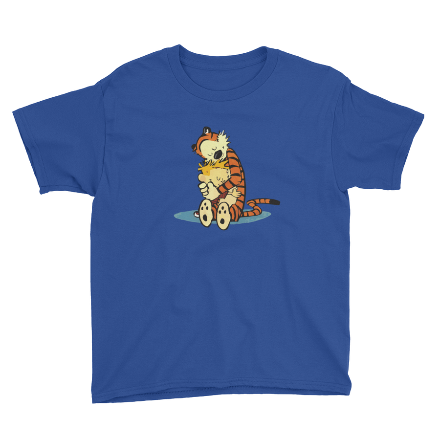 Calvin and Hobbes Hugging Artwork Youth T-Shirt - Royal Blue / XS by Art-O-Rama