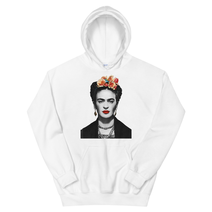 Frida Kahlo With Flowers Poster Artwork Unisex Hoodie - White / S by Art-O-Rama