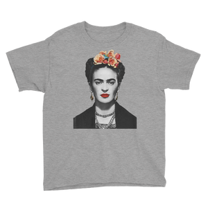 Frida Kahlo With Flowers Poster Artwork  Youth T-Shirt - Heather Grey / XS by Art-O-Rama