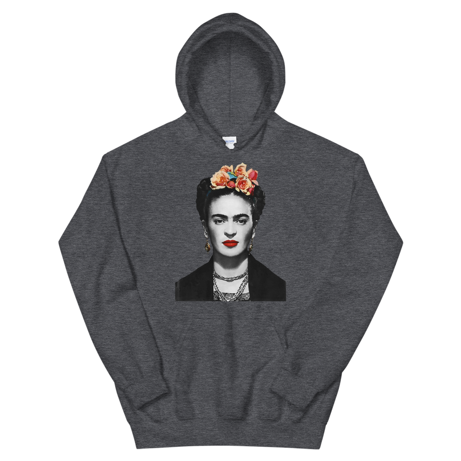 Frida Kahlo With Flowers Poster Artwork Unisex Hoodie - Dark Heather / S by Art-O-Rama