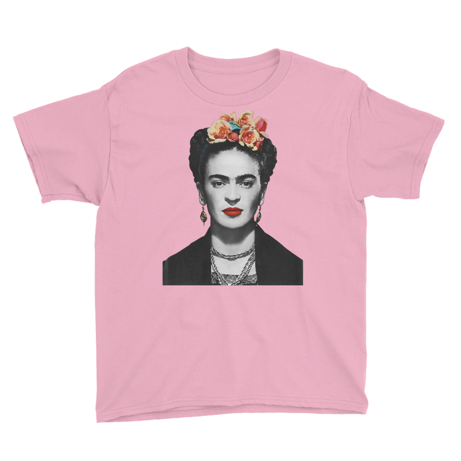 Frida Kahlo With Flowers Poster Artwork  Youth T-Shirt - Charity Pink / XS by Art-O-Rama