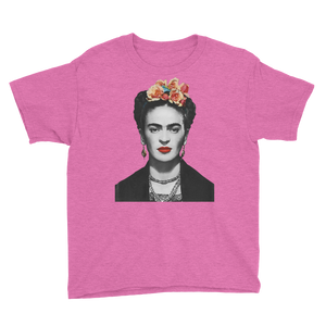 Frida Kahlo With Flowers Poster Artwork  Youth T-Shirt - Heather Hot Pink / XS by Art-O-Rama