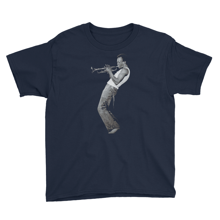Miles Davis Playing his Trumpet Artwork Youth T-Shirt - Navy / XS by Art-O-Rama