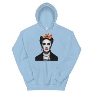 Frida Kahlo With Flowers Poster Artwork Unisex Hoodie - Light Blue / S by Art-O-Rama