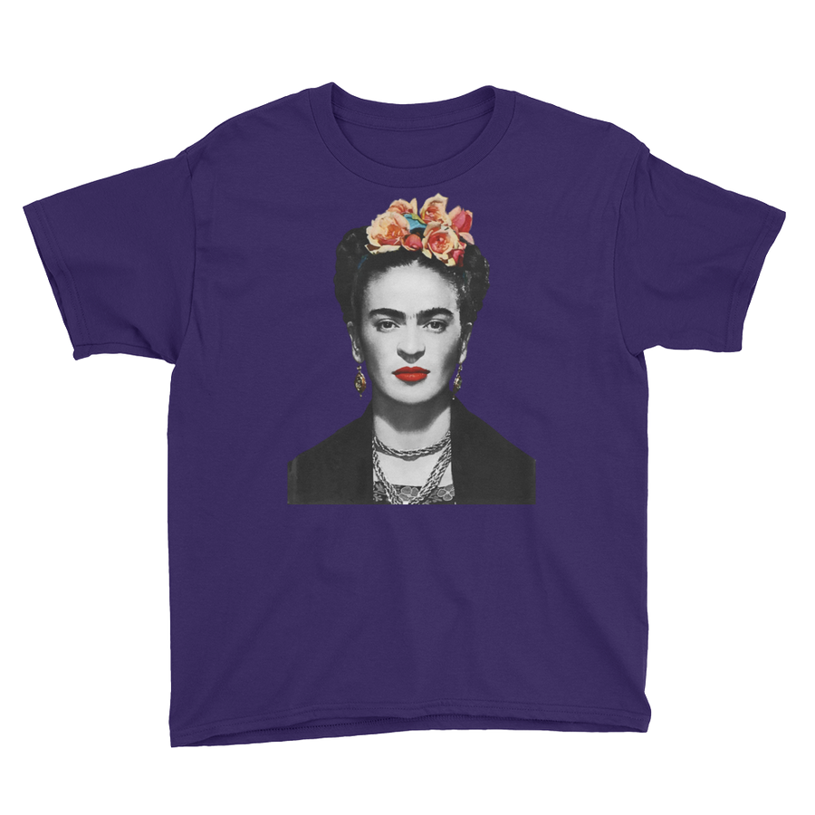 Frida Kahlo With Flowers Poster Artwork  Youth T-Shirt - Purple / XS by Art-O-Rama