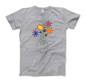 Pablo Picasso Bouquet of Peace 1958 Artwork T-Shirt - Men / Heather Grey / Small by Art-O-Rama