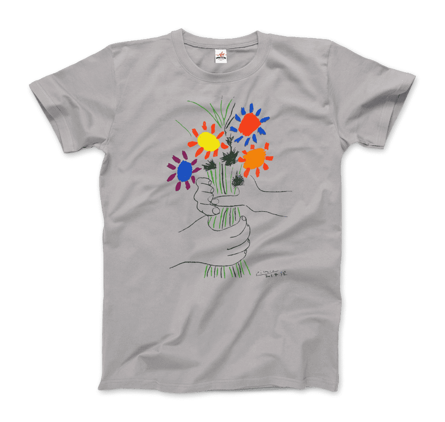 Pablo Picasso Bouquet of Peace 1958 Artwork T-Shirt - Men / Silver / Small by Art-O-Rama