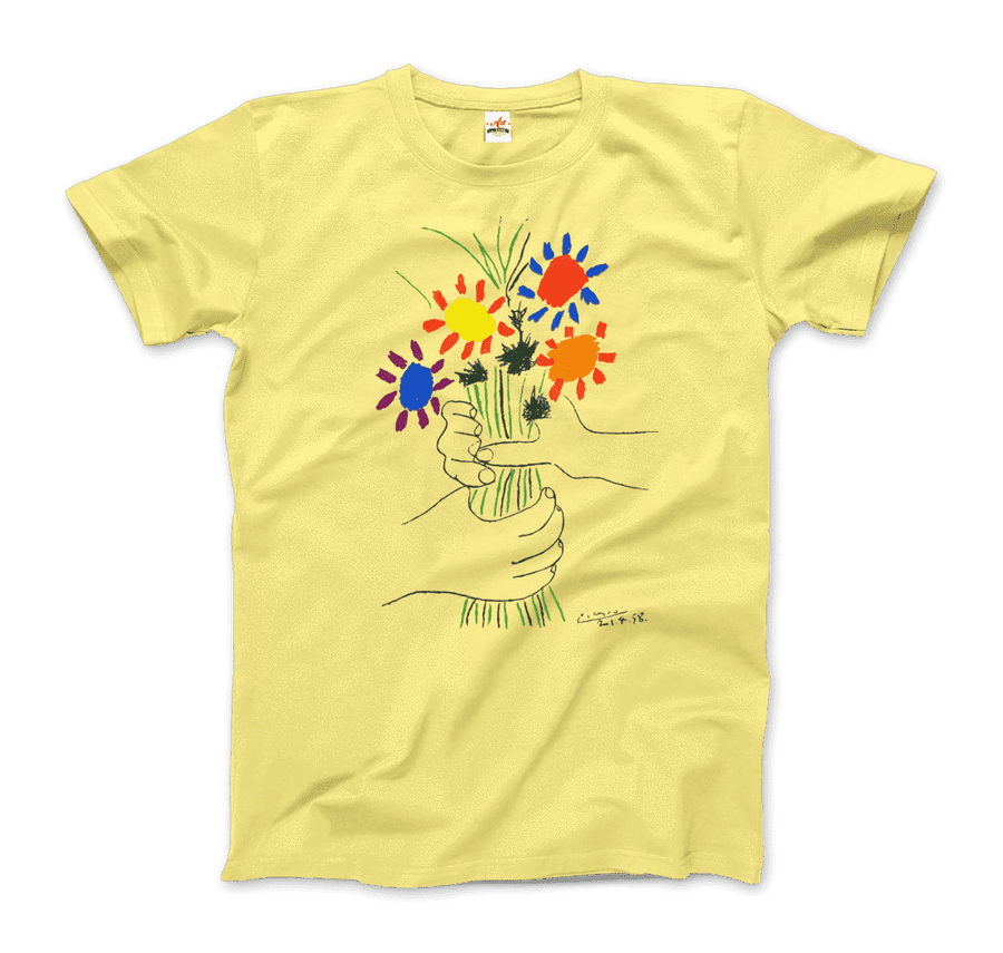 Pablo Picasso Bouquet of Peace 1958 Artwork T-Shirt - Men / Spring Yellow / Small by Art-O-Rama