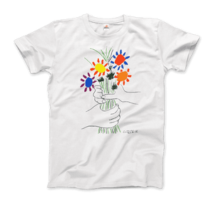 Pablo Picasso Bouquet of Peace 1958 Artwork T-Shirt - Men / White / Small by Art-O-Rama