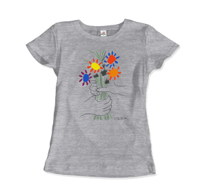 Pablo Picasso Bouquet of Peace 1958 Artwork T-Shirt - Women / Heather Grey / Small by Art-O-Rama