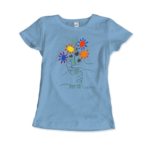 Pablo Picasso Bouquet of Peace 1958 Artwork T-Shirt - Women / Light Blue / Small by Art-O-Rama
