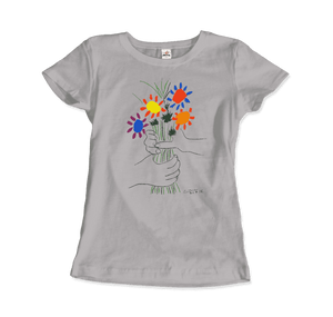 Pablo Picasso Bouquet of Peace 1958 Artwork T-Shirt - Women / Silver / Small by Art-O-Rama