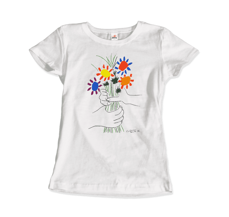 Pablo Picasso Bouquet of Peace 1958 Artwork T-Shirt - Women / White / Small by Art-O-Rama