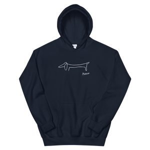 Pablo Picasso Dachshund Dog (Lump) Artwork Unisex Hoodie - Navy / S by Art-O-Rama