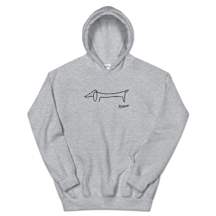 Pablo Picasso Dachshund Dog (Lump) Artwork Unisex Hoodie - Sport Grey / S by Art-O-Rama