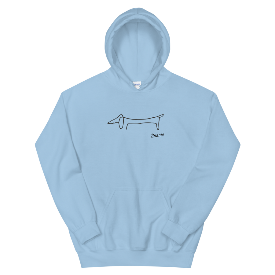 Pablo Picasso Dachshund Dog (Lump) Artwork Unisex Hoodie - Light Blue / S by Art-O-Rama