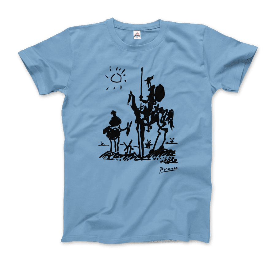 Pablo Picasso Don Quixote of La Mancha 1955 Artwork T-Shirt - Men / Light Blue / Small by Art-O-Rama