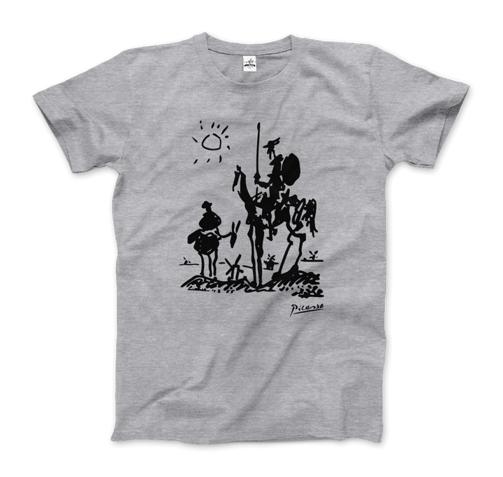 Pablo Picasso Don Quixote of La Mancha 1955 Artwork T-Shirt - Men / Heather Grey / Small by Art-O-Rama