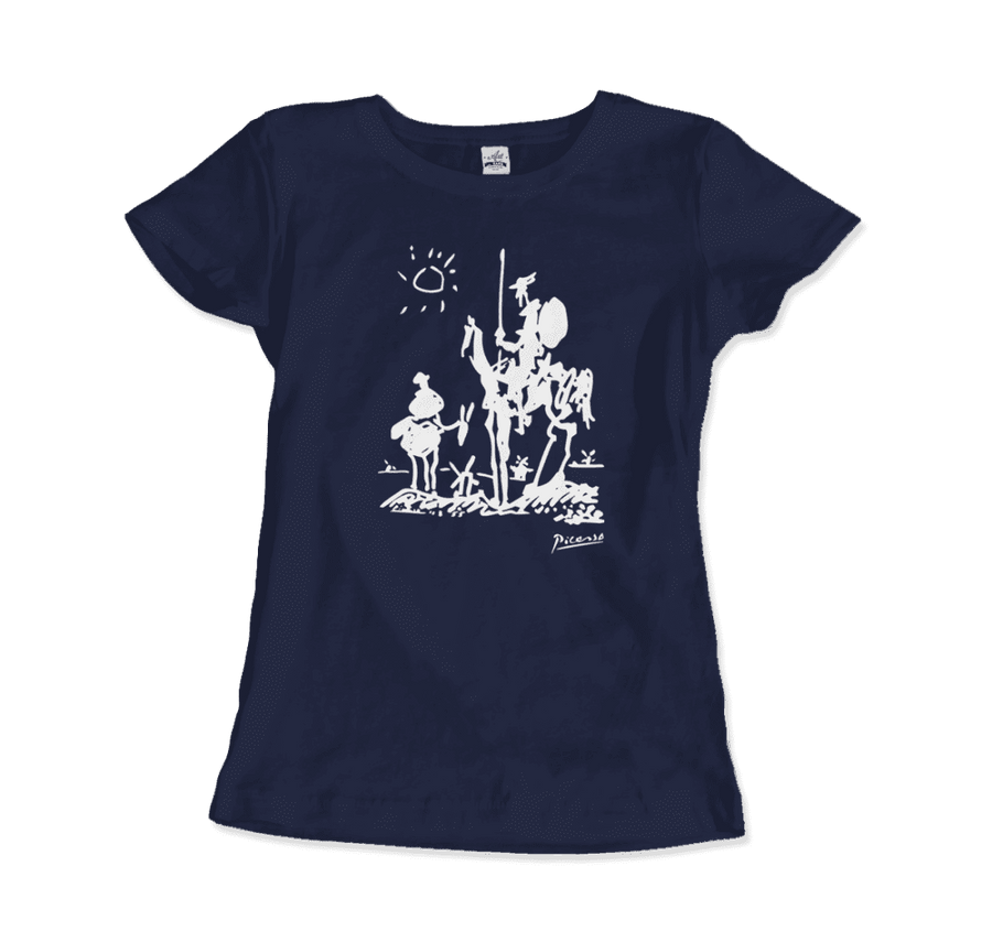 Pablo Picasso Don Quixote of La Mancha 1955 Artwork T-Shirt - Women / Navy / Small by Art-O-Rama