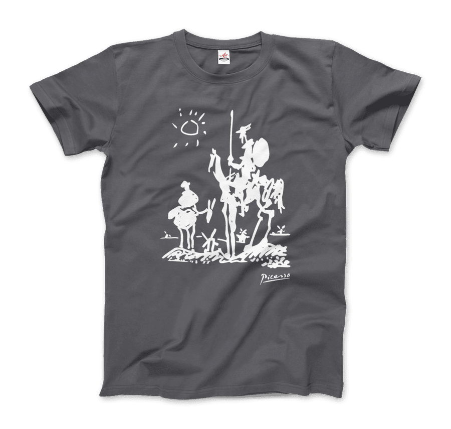 Pablo Picasso Don Quixote of La Mancha 1955 Artwork T-Shirt - Men / Charcoal / Small by Art-O-Rama