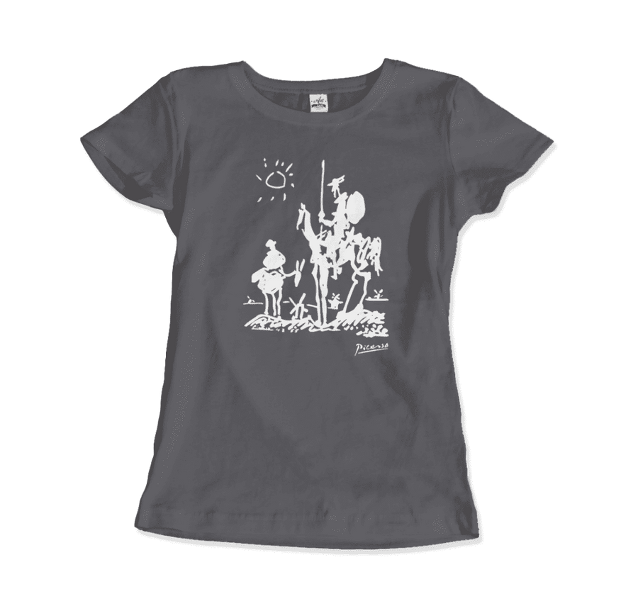 Pablo Picasso Don Quixote of La Mancha 1955 Artwork T-Shirt - Women / Charcoal / Small by Art-O-Rama