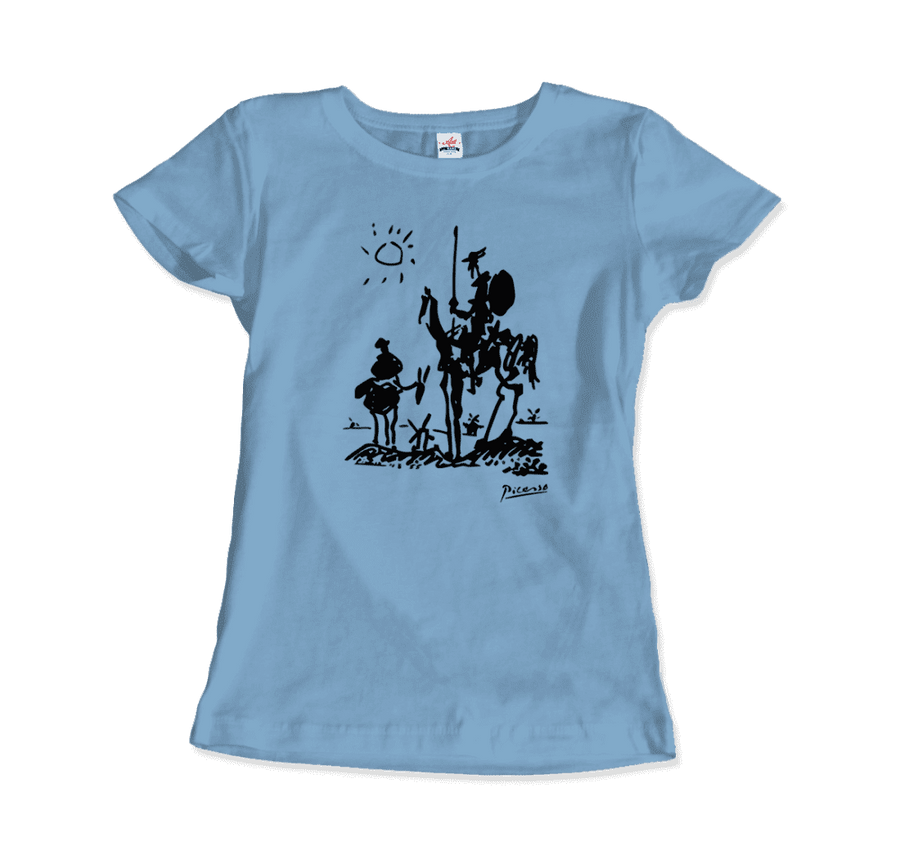 Pablo Picasso Don Quixote of La Mancha 1955 Artwork T-Shirt - Women / Light Blue / Small by Art-O-Rama
