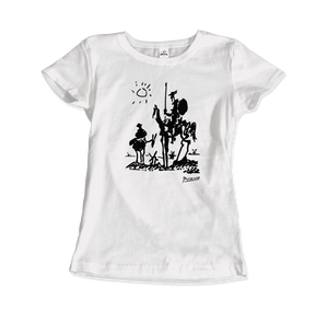 Pablo Picasso Don Quixote of La Mancha 1955 Artwork T-Shirt - Women / White / Small by Art-O-Rama