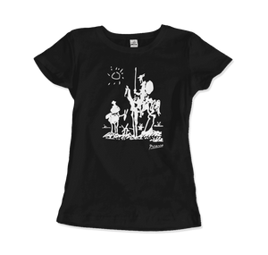 Pablo Picasso Don Quixote of La Mancha 1955 Artwork T-Shirt - Women / Black / Small by Art-O-Rama
