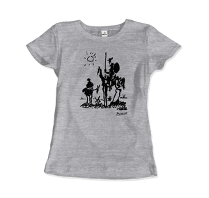 Pablo Picasso Don Quixote of La Mancha 1955 Artwork T-Shirt - Women / Heather Grey / Small by Art-O-Rama
