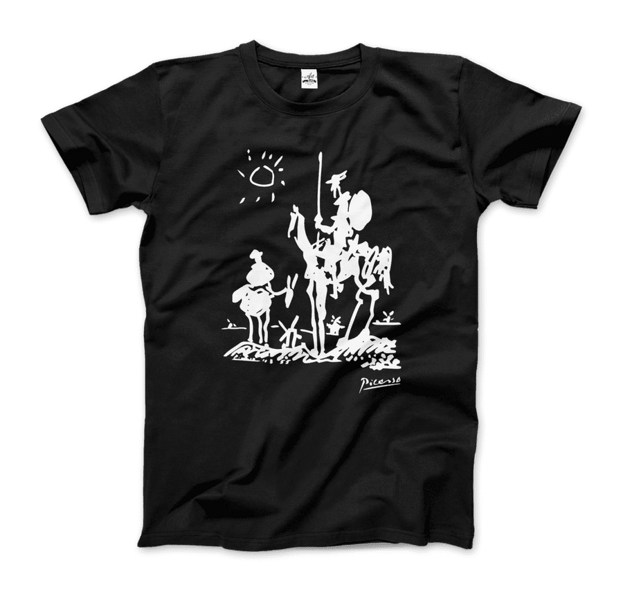 Pablo Picasso Don Quixote of La Mancha 1955 Artwork T-Shirt - Men / Black / Small by Art-O-Rama
