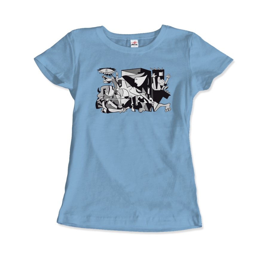 Pablo Picasso Guernica 1937 Artwork Reproduction T-Shirt - Women / Light Blue / Small by Art-O-Rama