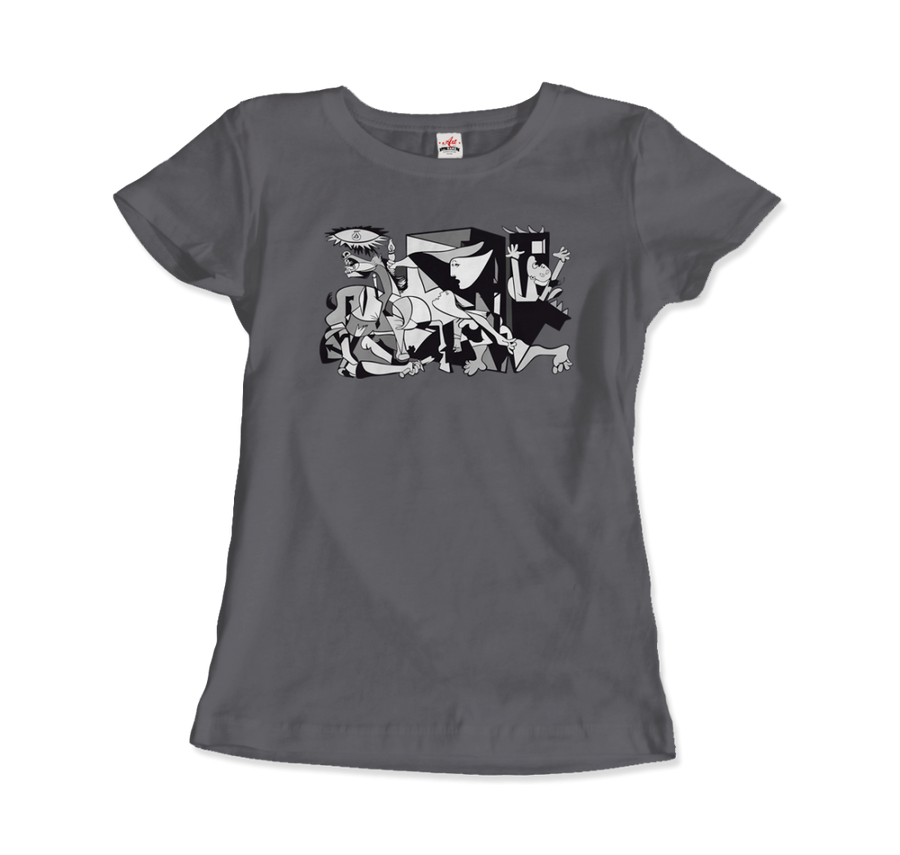 Pablo Picasso Guernica 1937 Artwork Reproduction T-Shirt - Women / Charcoal / Small by Art-O-Rama