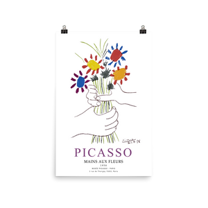Pablo Picasso Hands with Flowers 1958 Artwork Poster - Matte / 16 (W) x 24 (H) - Poster
