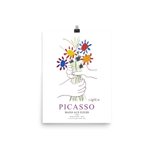 "Pablo Picasso Hands with Flowers 1958 Artwork Poster - Matte / 11"" (W) x 17"" (H) by Art-O-Rama"