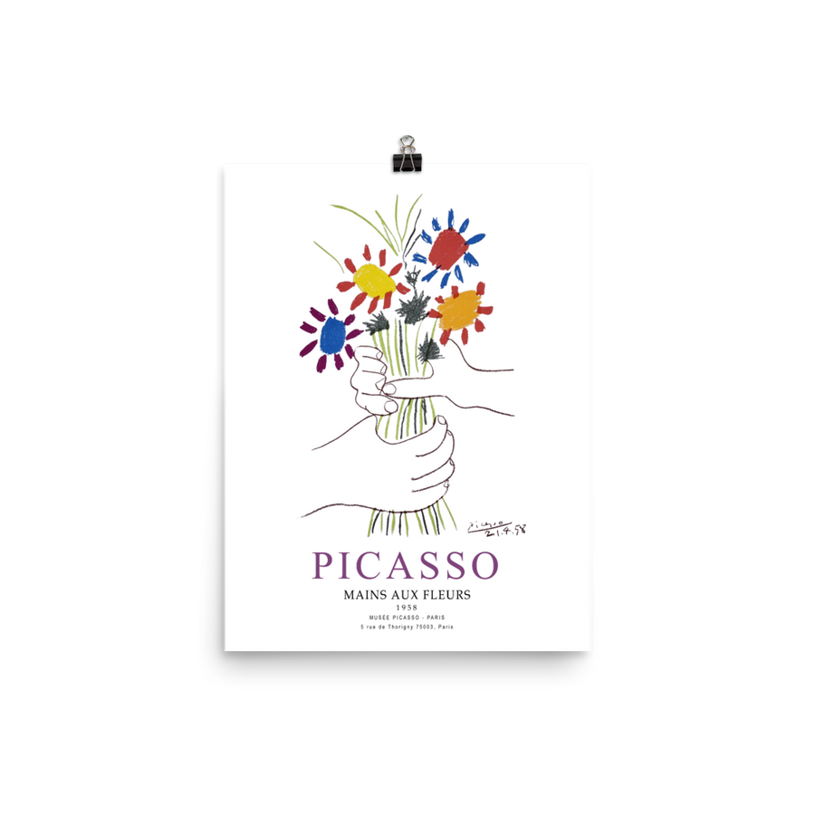 Pablo Picasso Hands with Flowers 1958 Artwork Poster - Matte / 11 (W) x 17 (H) - Poster