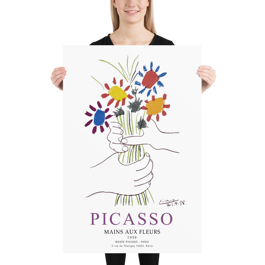 Pablo Picasso Hands with Flowers 1958 Artwork Poster - [variant_title] by Art-O-Rama