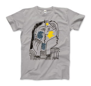 Pablo Picasso The Kiss 1979 Artwork T-Shirt - Men / Silver / Small by Art-O-Rama