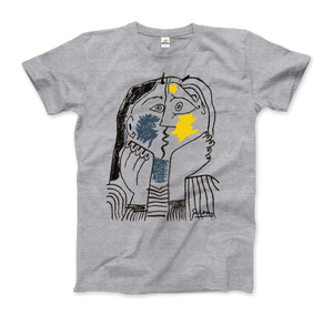 Pablo Picasso The Kiss 1979 Artwork T-Shirt - Men / Heather Grey / Small by Art-O-Rama