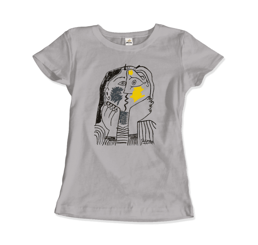 Pablo Picasso The Kiss 1979 Artwork T-Shirt - Women / Silver / Small by Art-O-Rama