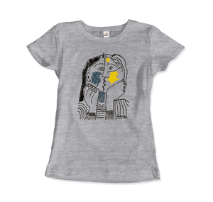 Pablo Picasso The Kiss 1979 Artwork T-Shirt - Women / Heather Grey / Small by Art-O-Rama
