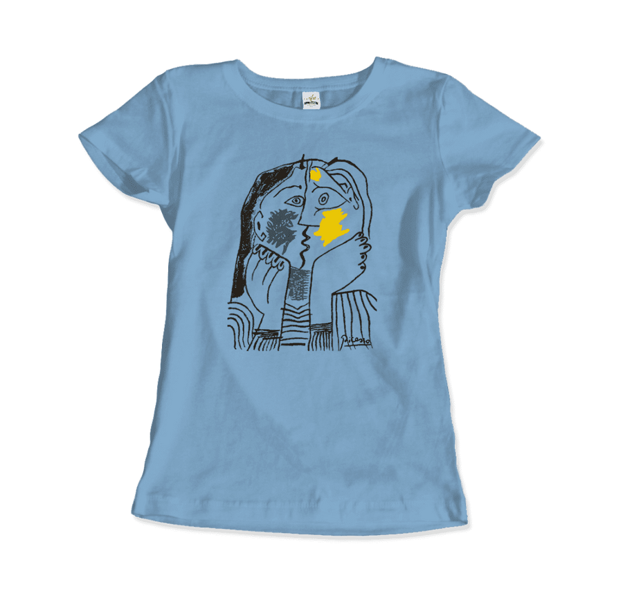 Pablo Picasso The Kiss 1979 Artwork T-Shirt - Women / Light Blue / Small by Art-O-Rama