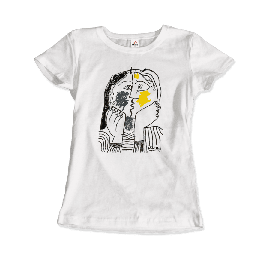 Pablo Picasso The Kiss 1979 Artwork T-Shirt - Women / White / Small by Art-O-Rama